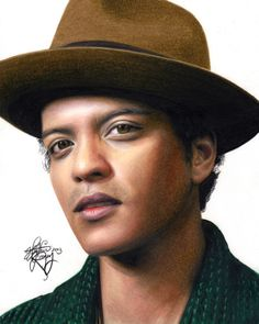 Bruno Mars Colored Pencil Drawing by Heather Rooney