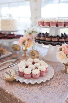 Dessert Bar highlight - pink champagne cupcakes from Sift Dessert Bar! http://siftdessertbar.com/pages/wedding-cupcakes