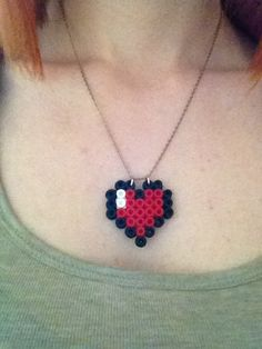 Hama Bead Zelda Heart Necklace. $15,00, via Etsy.