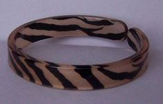 Tan Brown Black Animal Print Cuff Bangle Bracelet