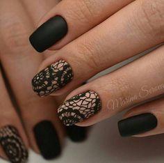 Black nails and lace Lace Nail Design, Lace Nail Art, Lace Nails, Best Nail Art Designs, Colorful Nail Designs, Stylish Nails, Trendy Nails, Get Nails, Hair And Nails