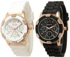 8d46cf4700b Black and White Rosegold Faux Chronograph Silicone Watch w  Rhinestones  Cool Watches