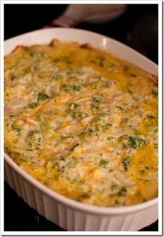 Creamy Chicken & Broccoli Casserole--I used sour cream for half of the mayo and added 1 1/2 cup cooked rice.