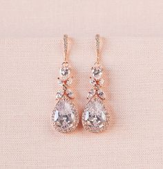 Rose Gold Bridal earrings Wedding jewelry by CrystalAvenues