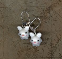 Chinese porcelain lucky pig earrings pig charm by JunqueJules