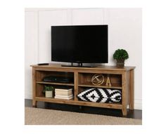 "TV Console Stand Entertainment Center Open Media Storage Shelves 60"" Wood Tone #WE #Contemporary"