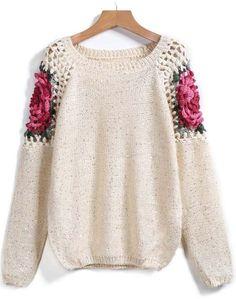 Jersey suelto Floral Crochet hueco manga larga-crudo 23.70