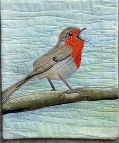 A Robin Singing Heartily by Stephanie Crawford (UK).  19 x 23 cm.
