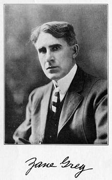 Zane Grey - born in Zanesville, OH, Jan 31, 1872. Zanesville was founded by his ancestors. He wrote countless novels about the early American west.