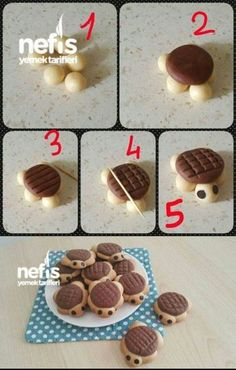 Turtle Cookies- Turtle Cookies Turtle Cookies # christmaspastry The post Turtle Cookies- Turtle Cookies Turtle Cookies # christmaspastry appeared first on Win Dessert. Donut Recipes, Cookie Recipes, Lemon Biscuits, Turtle Cookies, Homemade Donuts, Homemade Breads, Food Decoration, Food Crafts, Biscotti