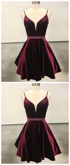 Hot Sale Engrossing Burgundy Party Dress, Short Party Dress, V Neck Wedding Dresses Burgundy Homecoming Dresses, V Neck Prom Dresses, Dresses Short, Grad Dresses, Dresses For Teens, Trendy Dresses, Cute Dresses, Party Dresses, Evening Dresses