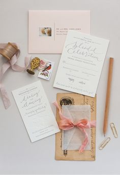 Erin and Taylor's Romantic Blush and Grey Wedding Invitations | Coral Pheasant, Photo by Athena Bludé Photography