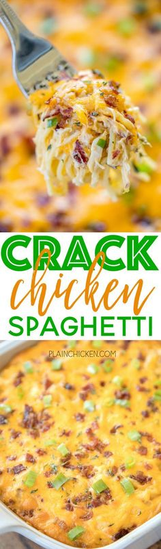 Crack Chicken Spaghetti - chicken spaghetti loaded with cheddar bacon and ranch. This stuff is totally ADDICTIVE! We make this at least once a month. Everyone cleans their plate even our picky eaters! Chicken cream of chicken soup velveeta ranch dres Casserole Spaghetti, Cheese Spaghetti, Spaghetti Squash, Cheesy Chicken Spaghetti, Taco Spaghetti, Pasta Cheese, Squash Pasta, New Recipes, Dinner Recipes