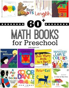 We have many of these great learning books at Kinderladen! More than 60 Math Picture Books for Preschool. Use this extensive book list to introduce math concepts in your preschool or kindergarten classroom. Kindergarten Books, Math Books, Preschool Books, Preschool Learning, Teaching Math, Book Activities, Preschool Activities, Children's Books, Learning Games