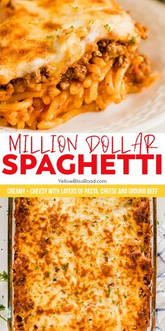 Million Dollar Spaghetti Casserole is creamy, cheesy and full of flavor. A crowd-pleasing pasta bake, this easy dinner recipe is a winner! Yummy Pasta Recipes, Easy Dinner Recipes, Casserole Recipes, Beef Recipes, Cooking Recipes, Healthy Recipes, Tamale Casserole, Potluck Recipes, Dinner Ideas