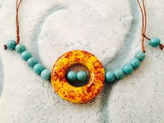 Donut Pendant and turquoise beads necklace in hemp by kikaystore, $14.95