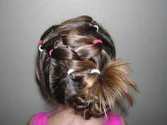 Twist to the Side Hairstyle from Princess Hairstyles Rubber Band Hairstyles, Weave Ponytail Hairstyles, Side Hairstyles, Little Girl Hairstyles, Hairdos, Retro Hairstyles, Girl Hair Dos, Princess Hairstyles, Hair Creations