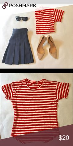 Madewell Red Striped Shirt Barely worn! This shirt is super cute and Nautical! Perfect for the Fourth of July or Memorial Day! Madewell Tops Tees - Short Sleeve