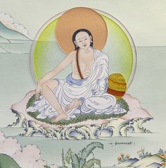 "Milarepa, Tibet's Great Yogi (1052-1135) Tibetan Buddhism Karma Gadri Painting Art - Taken from the book ""The Life of Buddha - The Karma Guen Buddhist Center in Spain And Its Precious Wall Paintings"" https://www.amazon.com/The-Life-Buddha-Buddhist-Paintings/dp/8461698800/ref=as_sl_pc_ss_til?tag=httpwwwbuddhi-20&linkCode=w01&linkId=TSQ3HKCLPJFEIROH&creativeASIN=8461698800"