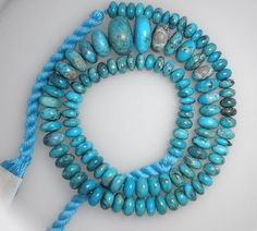 """Real Sleeping Beauty Turquoise Beads Graduated 6 mm to 15 mm 18"""" Strand"""