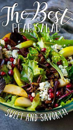Fresh Salad Recipes, Vegetarian Salad Recipes, Healthy Recipes, Salad With Balsamic Dressing, Salad Dressing Recipes, Best Balsamic Dressing Recipe, Salad Dressings, Pear And Blue Cheese Salad, Pear Recipes