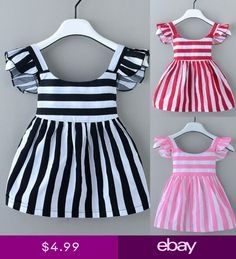 Newborn Kids Baby Girls Striped Pageant Party Dress Short Sleeve Casual Dresses - My list of the most beautiful baby products Baby Girl Party Dresses, Princess Tutu Dresses, Dresses Kids Girl, Kids Outfits, Dress Party, Party Party, Children Dress, Dress Girl, Winter Outfits