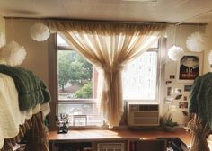 Dorm burlap curtains super cute idea to cover up those ugly blinds