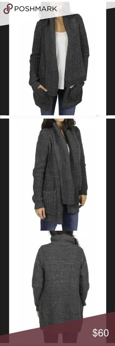 Anthropologie John & Jenn chunky knit cardigan Super thick and chunky open cardigan sweater. Has a blend of gray colors. Euc. Smoke/pet free home. (First 3 pics are stock photos of item).  Labeled XS but could fit up to medium in my opinion.  Offers welcomed Anthropologie Sweaters Cardigans