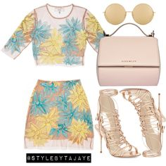 A fashion look from July 2015 featuring laced up gladiator sandals, leather handbags and Linda Farrow. Browse and shop related looks. Dressy Outfits, Chic Outfits, Girl Outfits, Fashion Outfits, Dope Fashion, Fashion Looks, Womens Fashion, Formal Casual, Mode Chanel