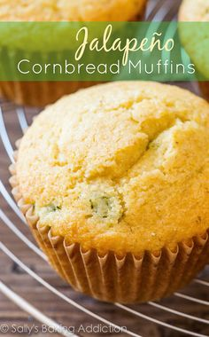 Chopped jalapeño adds a little kick to this delicious cornbread muffin recipe. Paired with honey, these easy cornbread muffins are a wonderful side dish! Jalapeno Cornbread Muffins, Corn Muffins, Cornbread Recipes, Muffin Bread, Sallys Baking Addiction, Muffin Recipes, Coffee Cake, Love Food, Yummy Treats