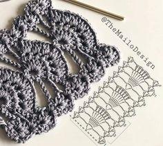Beautiful Crochet with graph pattern Marque-pages Au Crochet, Crochet Lace Edging, Crochet Motifs, Crochet Diagram, Crochet Stitches Patterns, Crochet Chart, Lace Patterns, Crochet Designs, Crochet Flowers