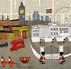 London, Great Britain, Art prints,poster, wall art, Limited edition Large poster 16x23 Vintage poster by Juri Romanov - OrangeOptimist. $85.00, via Etsy.