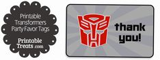 Transformers Party Favor Tags — Printable Treats.com
