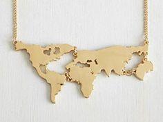 World map Kette Weltkarte Gold