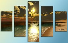 Sunset on the sea  5 panel Multi Canvas Painting by LoveCustomArt