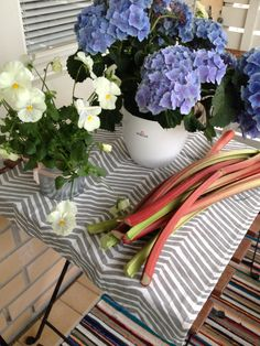 Rhubarb and summer flowers