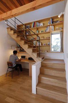 インテリア・レイアウト実例・収納 写真 in 2020 Home Stairs Design, Home Room Design, Home Office Design, Home Interior Design, Interior Architecture, Modern Stairs Design, Interior Staircase, Stair Design, Modern House Design