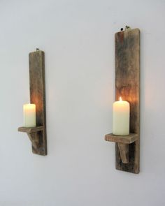 PAIR OF 50CM RECLAIMED PALLET WOOD RUSTIC WAXED WALL SCONCE CANDLE HOLDERS | eBay