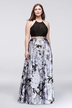One of fashion's hottest trends, the crop top is a must-have for prom season. This two-piece plus size dress features a scalloped lace top and a lustrous, floral-printed charmeuse skirt. This style is exclusive to David's Bridal.  By Blondie Nites  Two-piece ensemble  Polyester, cotton, nylon  Back zipper; fully lined  Dry clean  Imported  Also available in regular