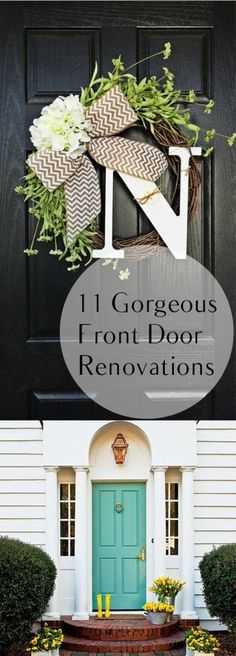 Need some inspiration for your front door? Check these front door renovations out! They are simple and easy to recreate. A little can go a long way! #frontdoormakeover #DIYprojects #homedesign