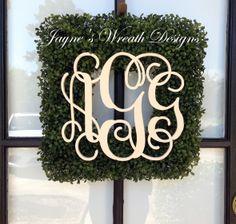 Square Boxwood Wreath with Triple vine Monogram letters