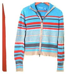 Delias Blue Zip Sweater Colorful cotton & ramie striped sweater, falls to hips with long sleeves.  Zip front.  Great spring jacket sweater. delias Jackets & Coats Blazers