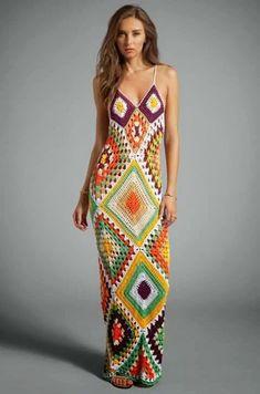 Edna Confecções em Crochê : Vestidos de Square com Gráfico