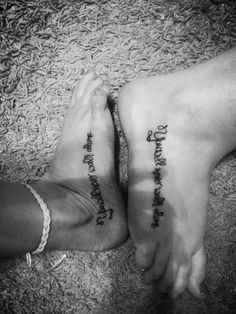 "Sister tattoos  @Nichole Radman Radman Rothery ""you will never walk alone"""
