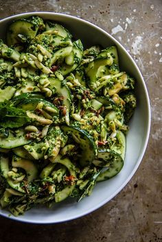 Chicken Zucchini Pesto Salad. Almonds, Sundried tomatoes, and a zesty pesto make this salad delicious.