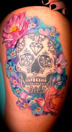 Skul and Flower Thigh Tattoo Design. I love love love this tattoo!!!