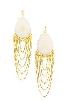 Chain Drape Earrings in Ivory