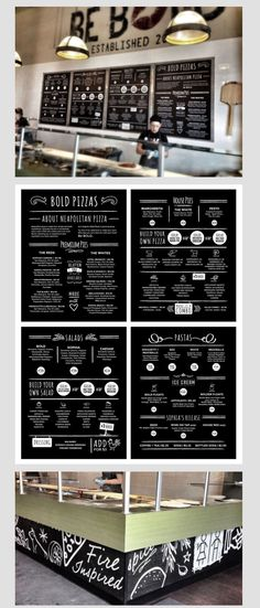 Menü / Speisekarte Pizzeria menu and environmental design @studi09creative #graphicdesign See the rest of the project at www.studi09.ca