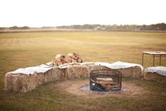 Haybale seating area with fire
