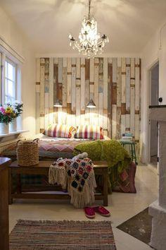 faire une tête de lit soi-même, grande tête de lit en bois